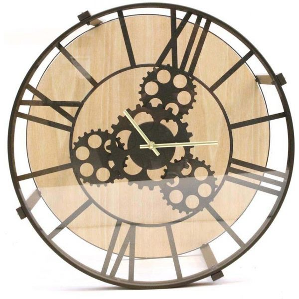 Table d'appoint en métal et bois horloge - THE HOME DECO FACTORY