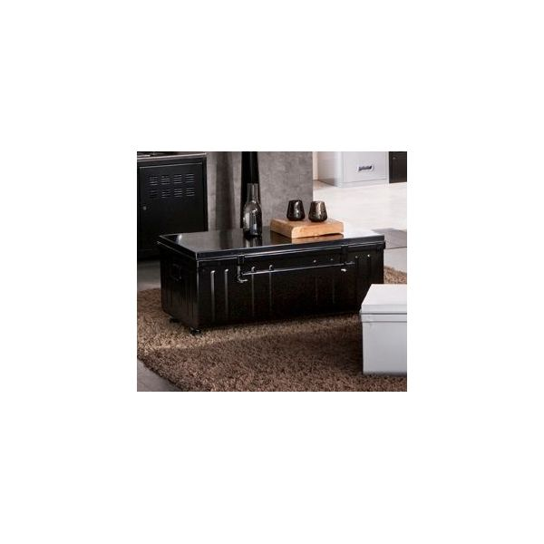 table basse malle en m tal noir. Black Bedroom Furniture Sets. Home Design Ideas