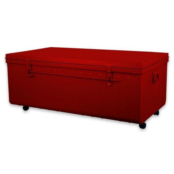 table basse malle en m tal rouge. Black Bedroom Furniture Sets. Home Design Ideas