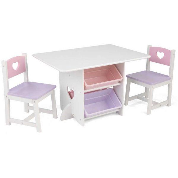 Table chaises et bac rangement enfant en bois coeur - Table et chaise enfant bois ...