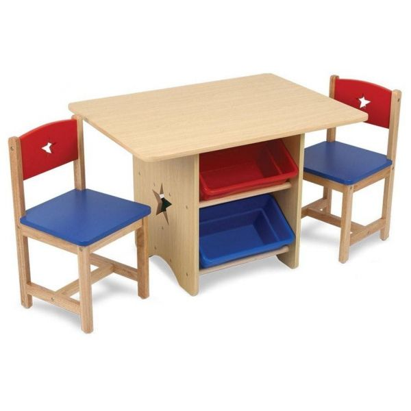table chaises et bac rangement enfant en bois etoile. Black Bedroom Furniture Sets. Home Design Ideas