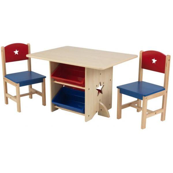 Table chaises et bac rangement enfant en bois etoile - Table et chaise enfant bois ...