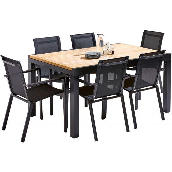 Table et chaises de jardin moderne Bali (6 fauteuils)