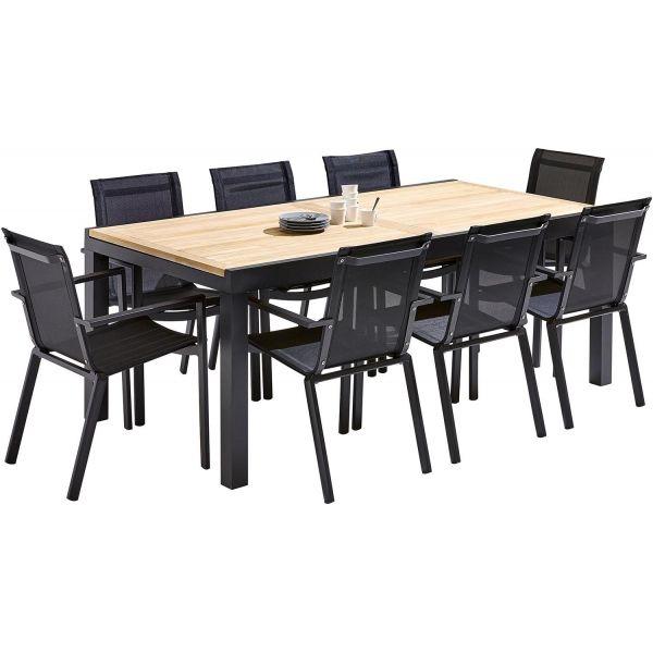 Table et chaises de jardin moderne bali 8 fauteuils - Table de jardin moderne ...