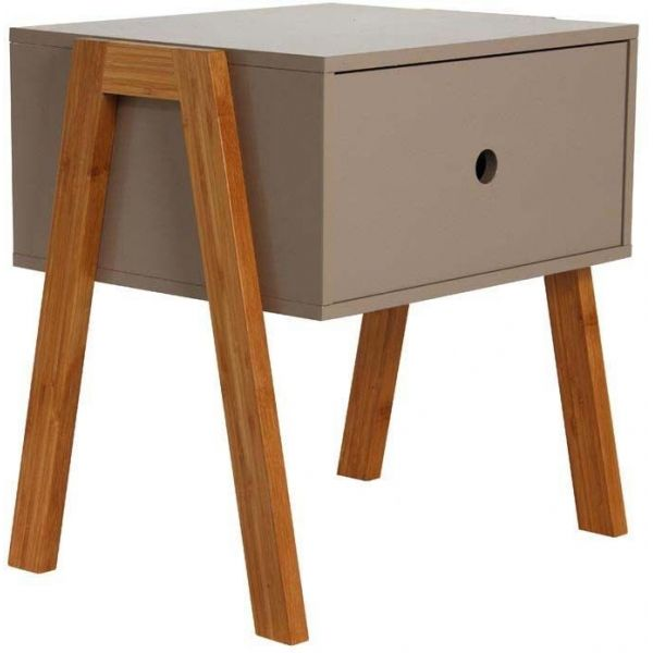 Table De Chevet Scandinave Empilable Taupe