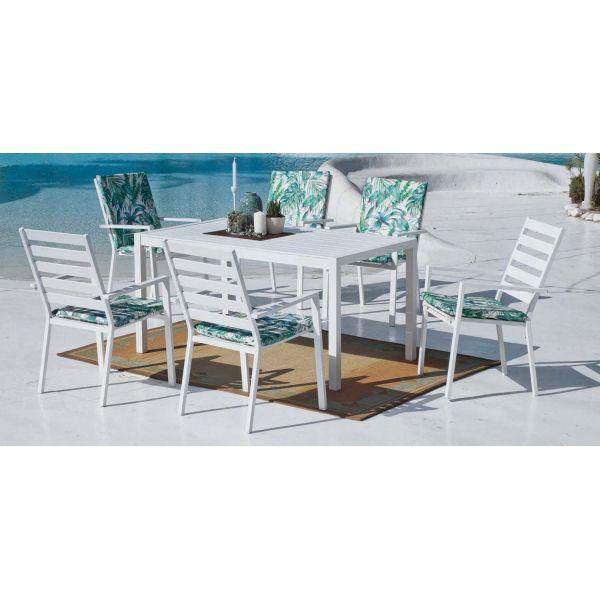 Table de jardin en aluminium Sarana 150 cm (Blanc)
