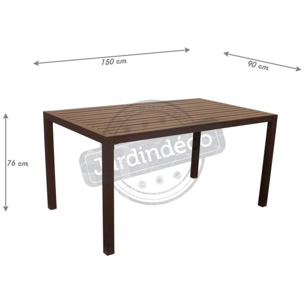 Table de jardin en aluminium Sarana 150 cm (Bronze marron)