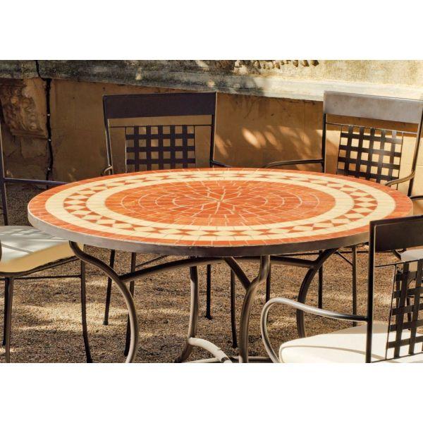 Table de jardin ronde et fauteuils lorny vigo (4 fauteuils)