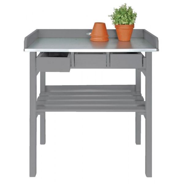 Table de jardinage en pin et zinc - FARM FOLKLORE