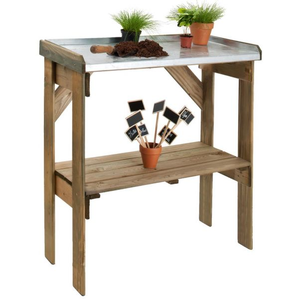 table de rempotage bois et zinc pratik. Black Bedroom Furniture Sets. Home Design Ideas
