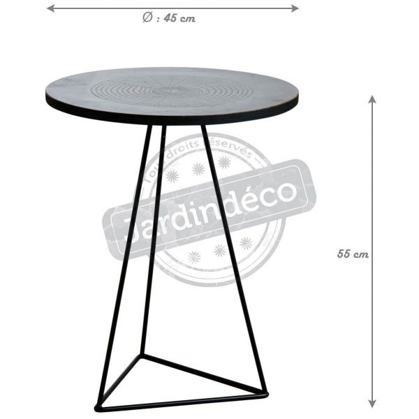 Table ronde métal zinc antique - AUB-2982