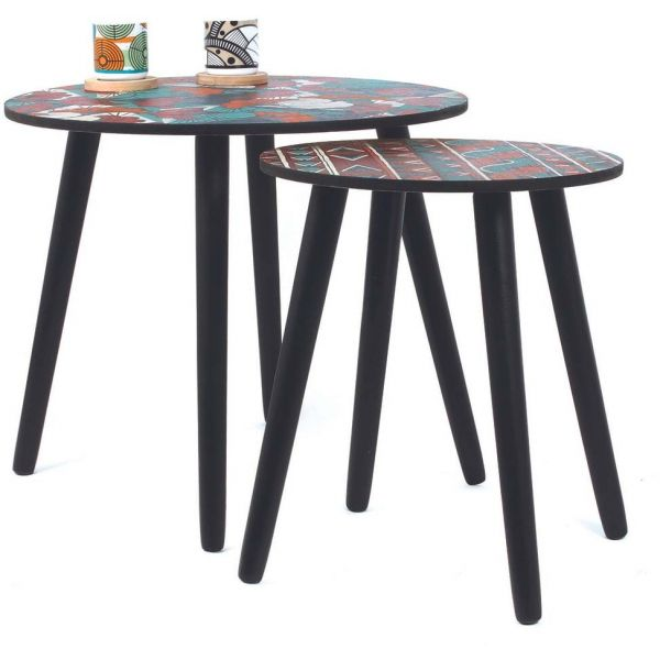 Tables gigognes plateau Wax (Lot de 2) - THE HOME DECO FACTORY