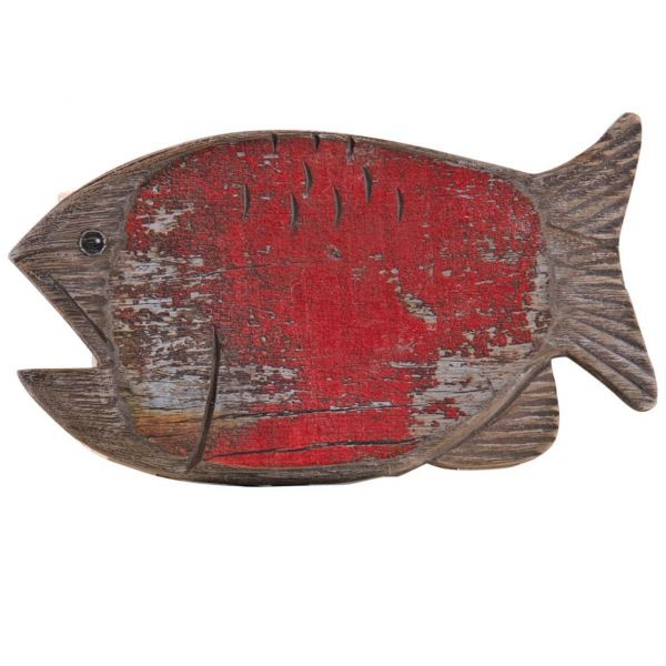 Tabouret assise poisson rouge en pin - AUBRY GASPARD