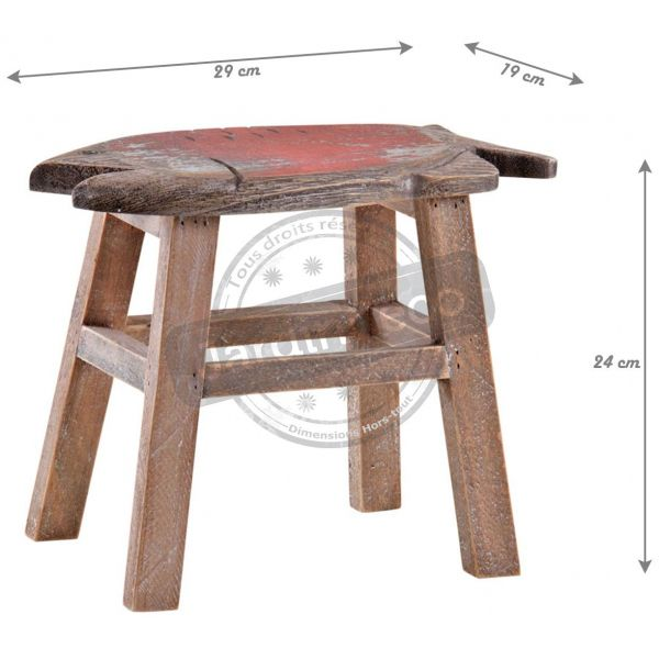 Tabouret assise poisson rouge en pin - AUB-3228
