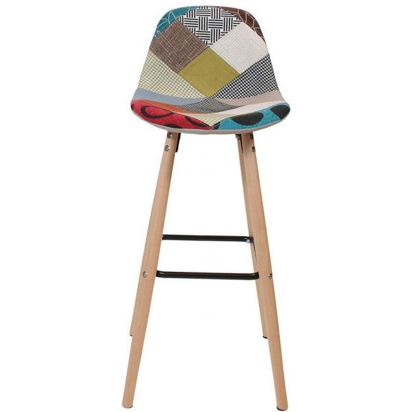 Tabouret de bar scandinave patchwork - THE HOME DECO FACTORY
