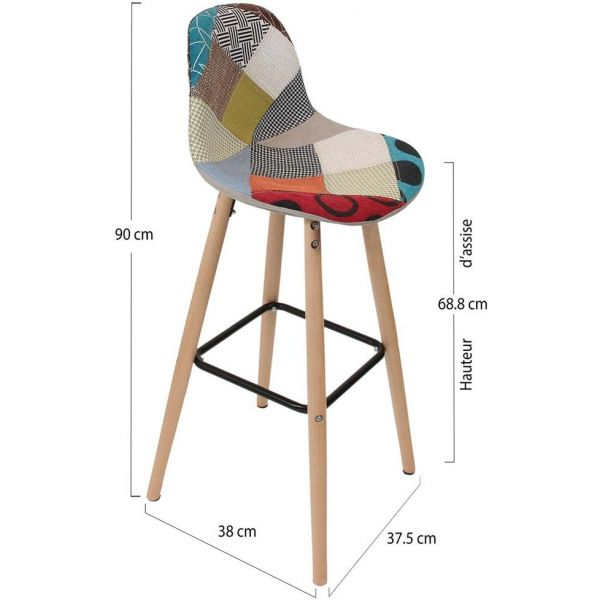 Tabouret de bar scandinave patchwork - 8