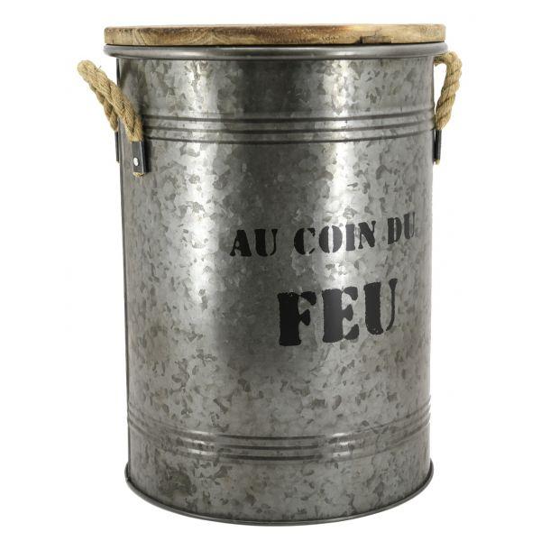 Tabouret Et Seau A Pellets En Metal Galvanise Au Coin Du Feu Aubry Gaspard Jardindeco