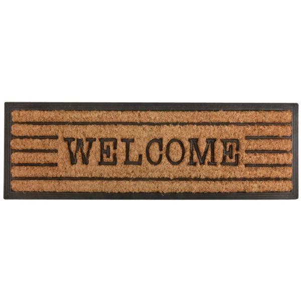 Tapis en fibres de coco inscription welcome - Comment nettoyer un tapis en coco ...