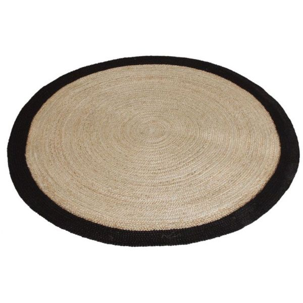 tapis rond jute naturelle avec bords noirs diam tre 120cm. Black Bedroom Furniture Sets. Home Design Ideas