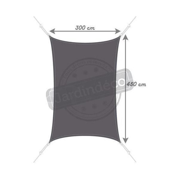 Voile d'ombrage rectangle 3 x 4,5m - EASY SAIL