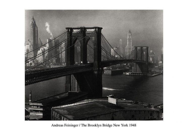affiche le pont de brooklyn vu de brooklyn new yord 1948. Black Bedroom Furniture Sets. Home Design Ideas