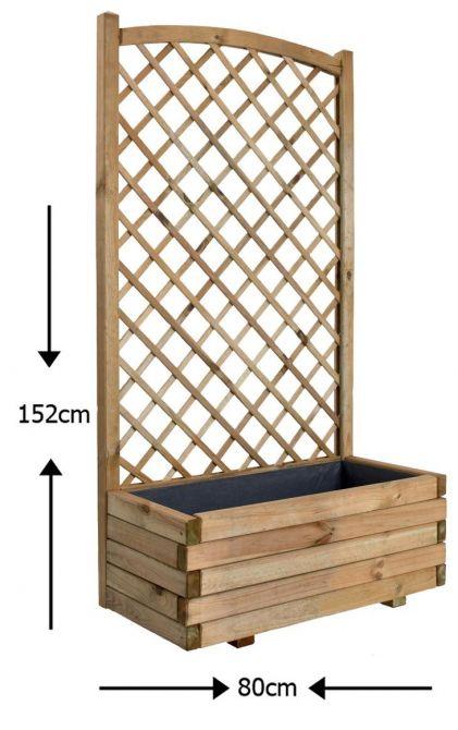 bac fleurs 64 5 litres avec treillage. Black Bedroom Furniture Sets. Home Design Ideas