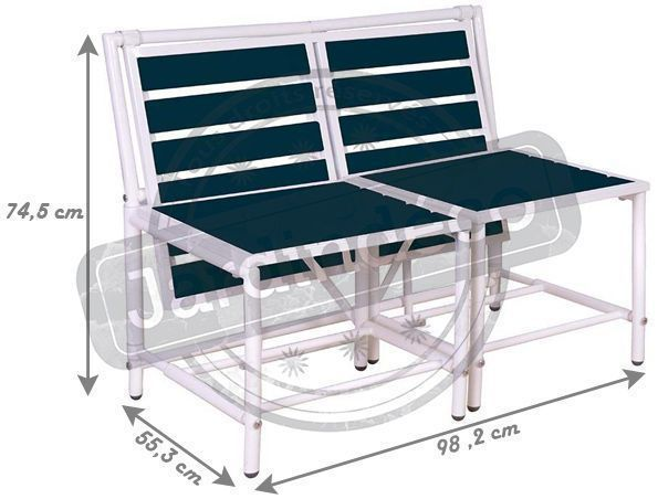 Banc 2 places convertible en tables et tabourets - 5