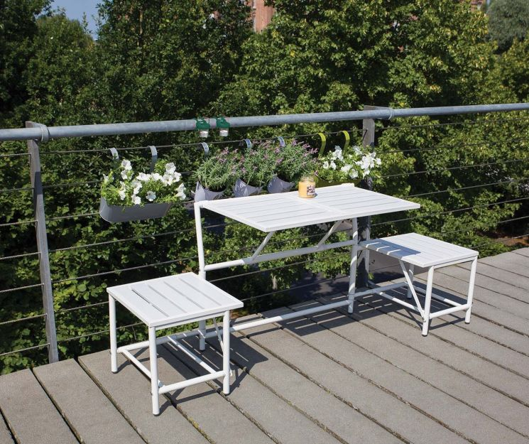 Banc 2 places convertible en tables et tabourets - 199