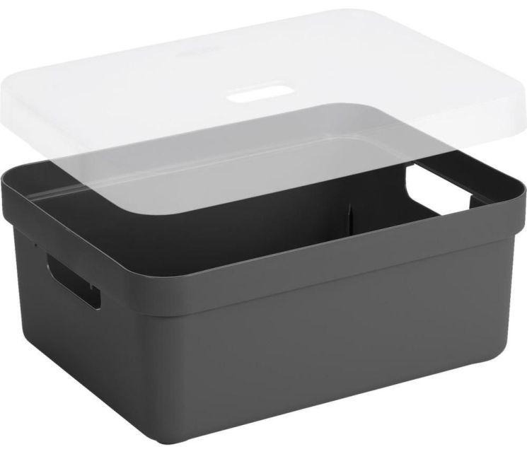 boite de rangement avec couvercle transparent sigma home box 13 l gris. Black Bedroom Furniture Sets. Home Design Ideas
