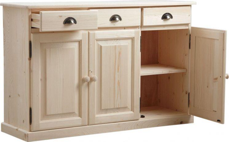 buffet 3 portes 3 tiroirs en bois brut. Black Bedroom Furniture Sets. Home Design Ideas