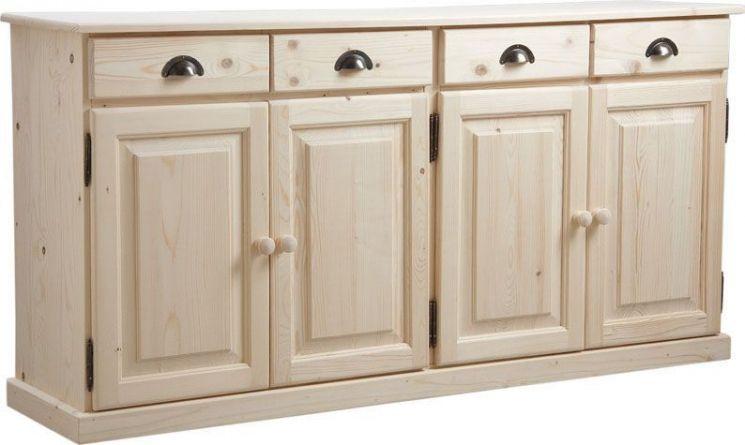 Buffet 4 portes 4 tiroirs en bois brut for Meuble tiroir bois brut