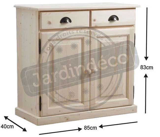 buffet en bois brut 2 portes 2 tiroirs. Black Bedroom Furniture Sets. Home Design Ideas