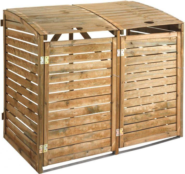 Double cache poubelles en bois trait - Cache poubelle double ...