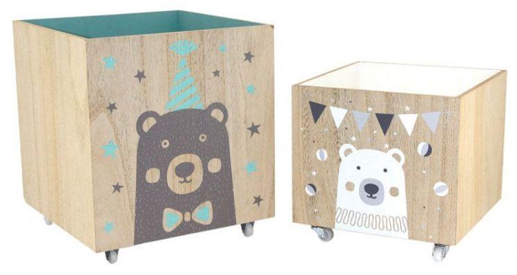 Caisses en bois ours 4 roulettes lot de 2 - Caisse a roulette enfant ...