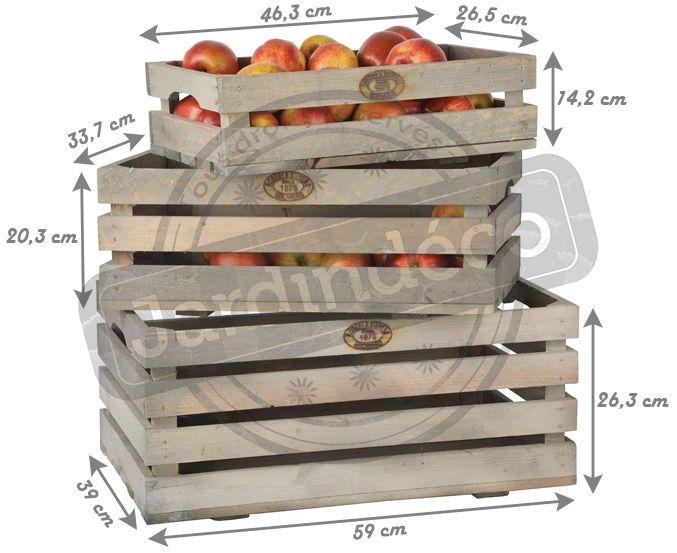 caisses fruits en pin lot de 3. Black Bedroom Furniture Sets. Home Design Ideas