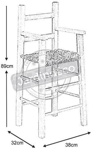 chaise haute pour enfant en h tre et roseau naturel. Black Bedroom Furniture Sets. Home Design Ideas