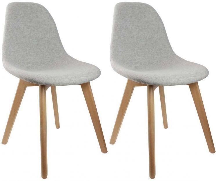 Chaise scandinave en tissu et pieds en bois lot de 2 gris Chaise en tissu gris