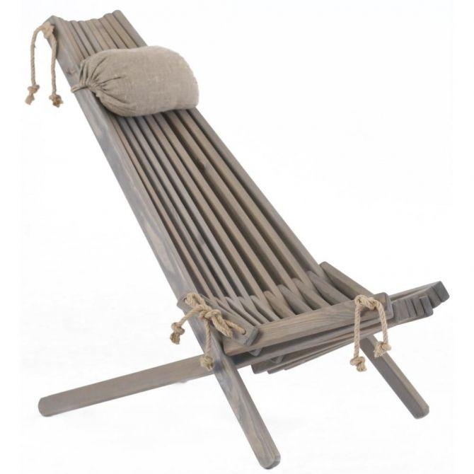 chilienne en bois ecochair coussin offert pin gris. Black Bedroom Furniture Sets. Home Design Ideas