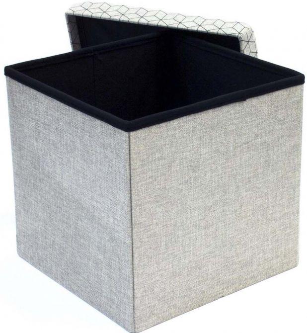coffre rangement pouf tissu gris clair coffre de rangement pouf sur jardind. Black Bedroom Furniture Sets. Home Design Ideas