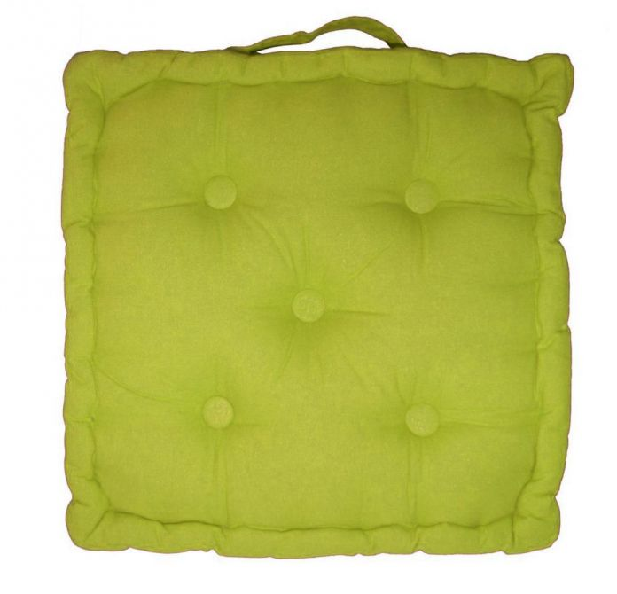 coussin de sol en coton 40 cm vert anis. Black Bedroom Furniture Sets. Home Design Ideas