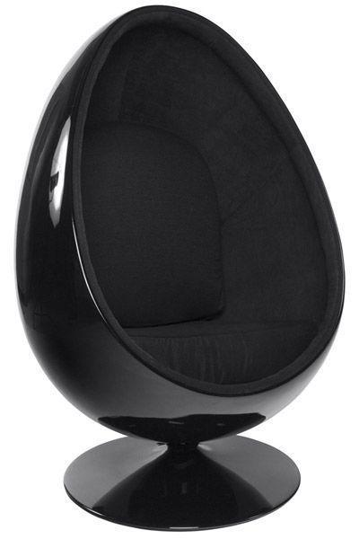 fauteuil design oeuf uovo noir. Black Bedroom Furniture Sets. Home Design Ideas
