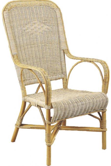 fauteuil rotin dossier haut naturel. Black Bedroom Furniture Sets. Home Design Ideas