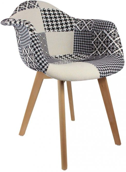 fauteuil scandinave patchwork noir blanc. Black Bedroom Furniture Sets. Home Design Ideas