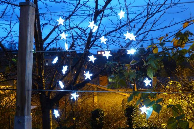 Guirlande solaire etoiles 20 leds blanches 3m80 - FEERIE SOLAIRE