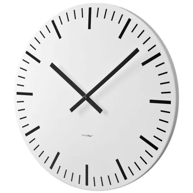 Horloge murale white station blanche 80cm for Horloge murale inox