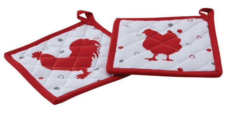 Manique de cuisine en coton lot de 2 poule et coq rouge for Manique de cuisine