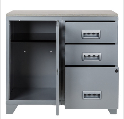 meuble bureau m tal 1 porte 3 tiroirs aluminium. Black Bedroom Furniture Sets. Home Design Ideas