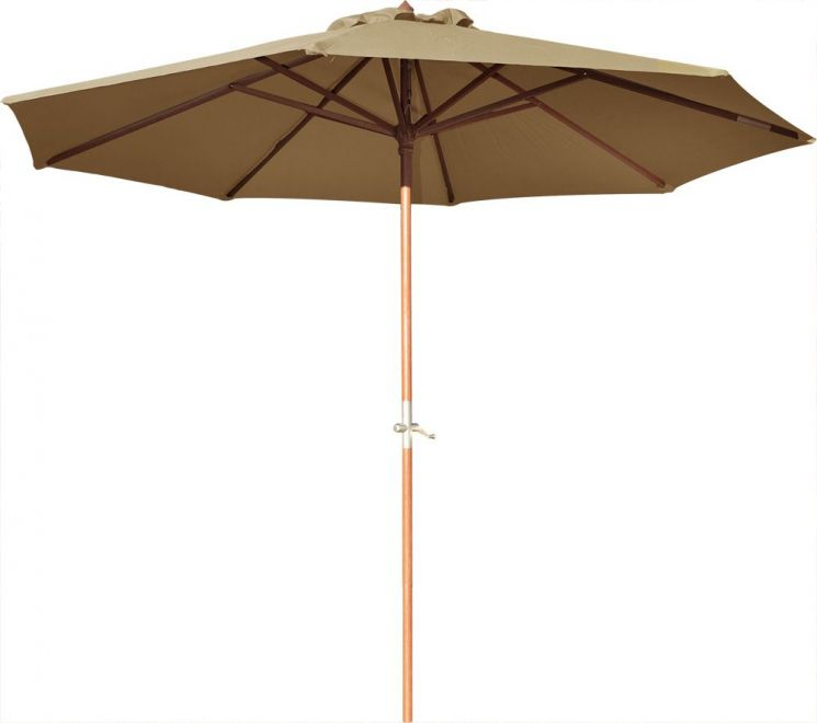 parasol en bois 350 cm avec manivelle june taupe. Black Bedroom Furniture Sets. Home Design Ideas