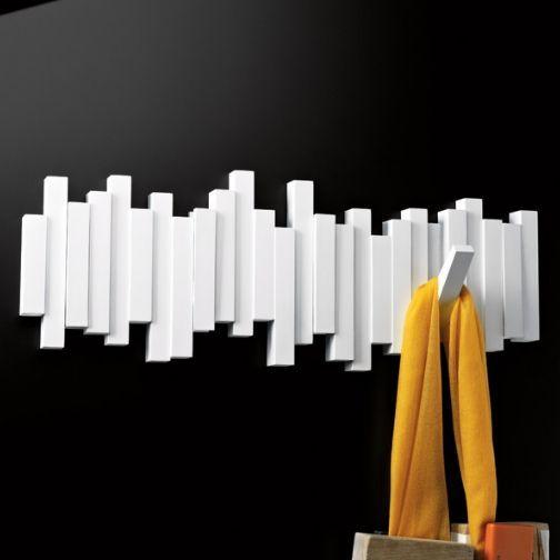 porte manteau design mural sticks blanc. Black Bedroom Furniture Sets. Home Design Ideas