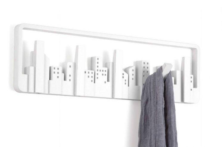 porte manteau mural design skyline blanc. Black Bedroom Furniture Sets. Home Design Ideas
